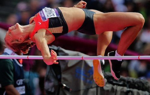 Lilli Schwarzkopf competes in the High Jump of the Heptathlon event in the Olympic Stadium