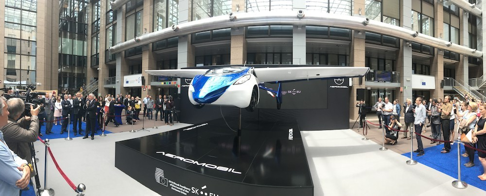 Innovative flying car prototype AeroMobil  displayed in Brussels during July