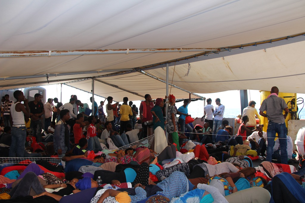 People on deck – a long and confined journey is about to begin. Photo: MSF