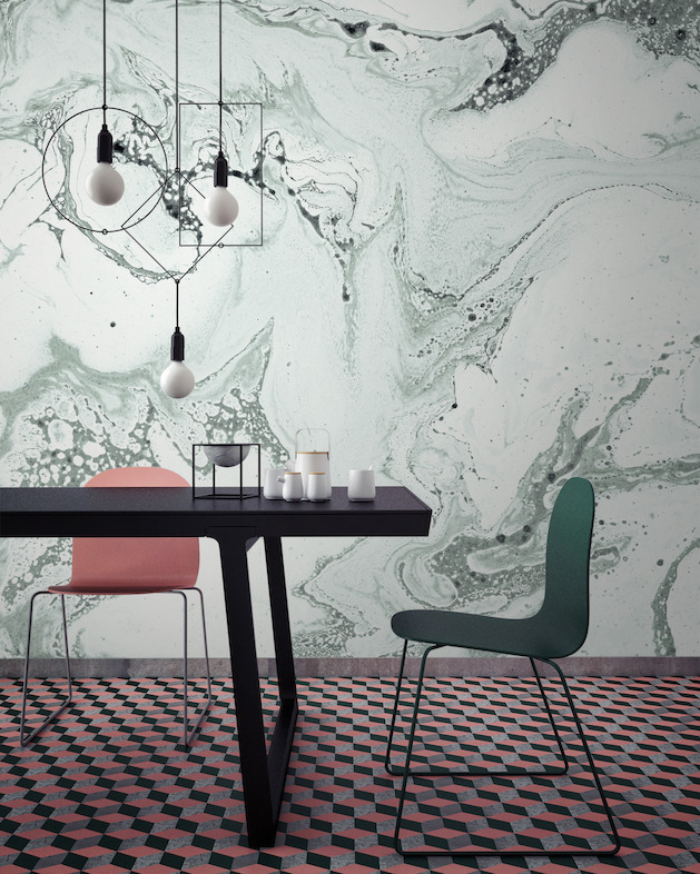 Green Marbleised Wallpaper Mural