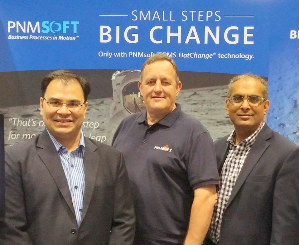 From left to right: Rahul Koorichh, Global Head, Microsoft Alliances at Tech Mahindra – Mike O'Donoghue, VP of Partnerships and Global Alliances at PNMsoft – Peeyush Goyal, Vice President at Tech Mahindra