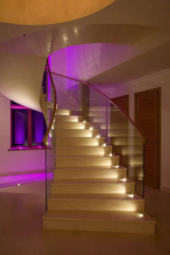 Staircases are always dangerous. You can limit the danger by installing a safe or extremely comfortable staircase lighting timer. (Photo source: Brilliantlighting.co.uk)