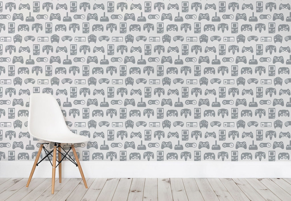 Light Grey Retro Game Wall Mural