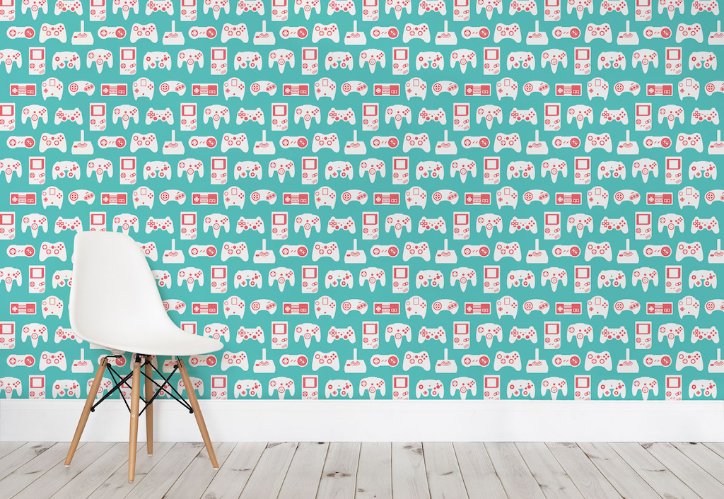 Turquoise Retro Game Wall Mural