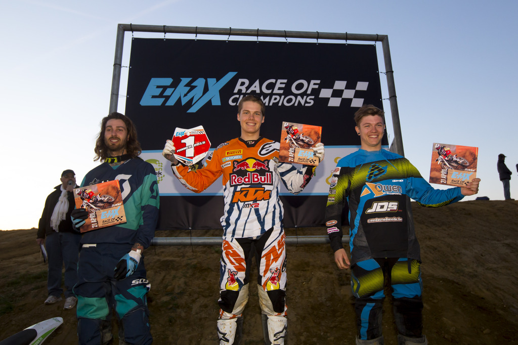 Overall podium from left to right: Gilles Dejong, Pauls Jonass, Jilani Cambré Credit: CDS