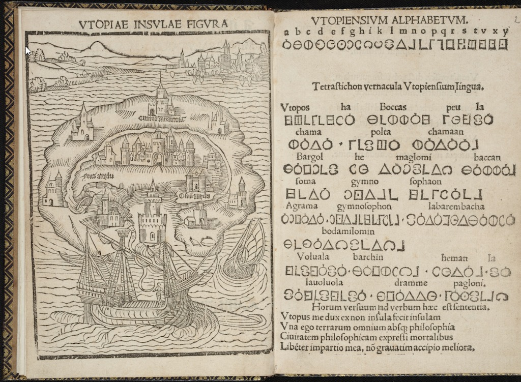 In Search of Utopia © Thomas Morus, The description of the isle of Utopia, 1550, ed. Paris, University Library – Tabularium, Leuven