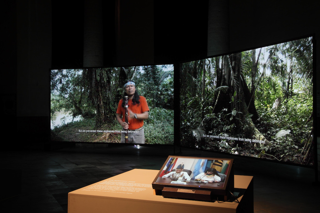 Ursula Biemann &amp; Paulo Tavares, Forest Law, video still.<br/>Installation @ KADOC pour Tracing the Future<br/>Photo (c) Dirk Pauwels