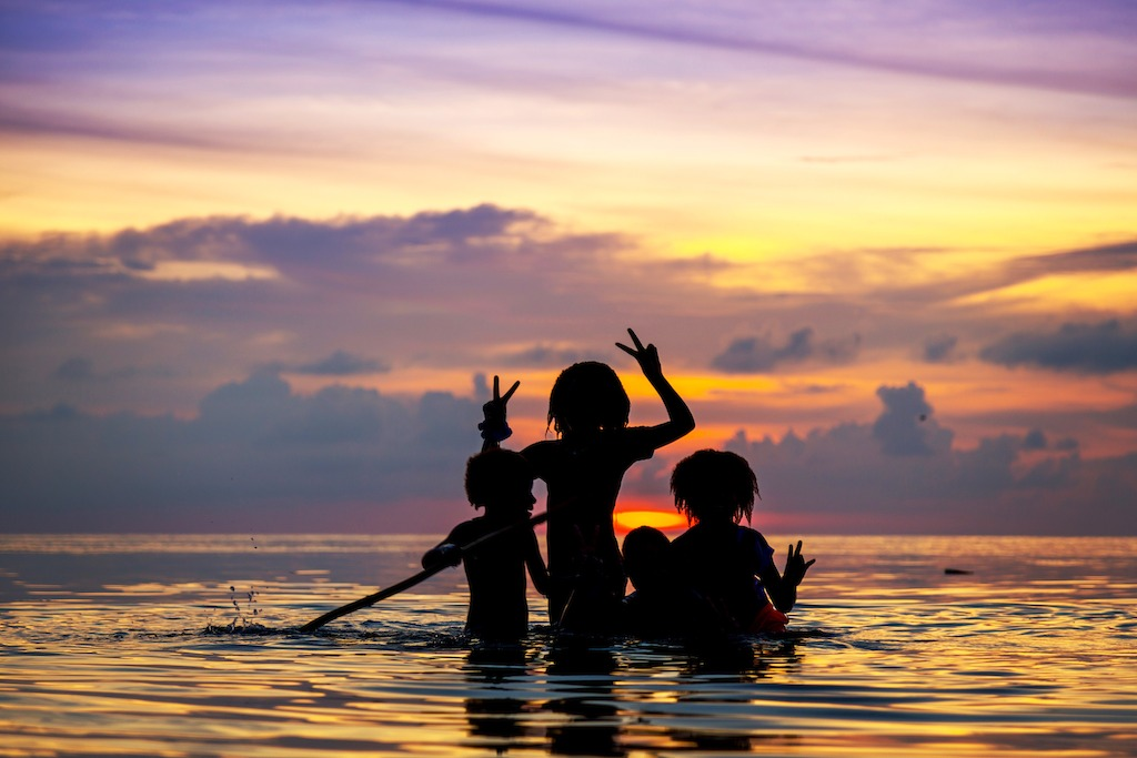 Children playing at sunset, Murray Island - Foreign Correspondent, photo credit Greg Nelson