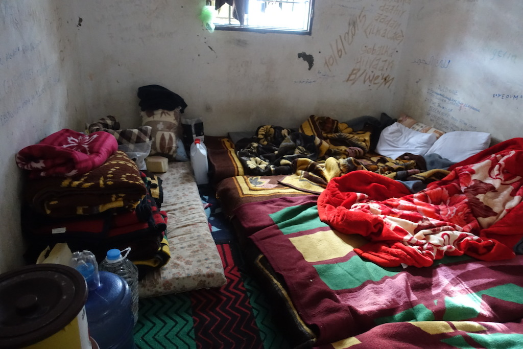 Room where inmates are held inside the a detention Center west of Misrata. Rooms are overcrowded, not clean and all inmates complained about scabies, a skin-infection associated with poor hygiene and living conditions. Photographer: Tankred Stoebe
