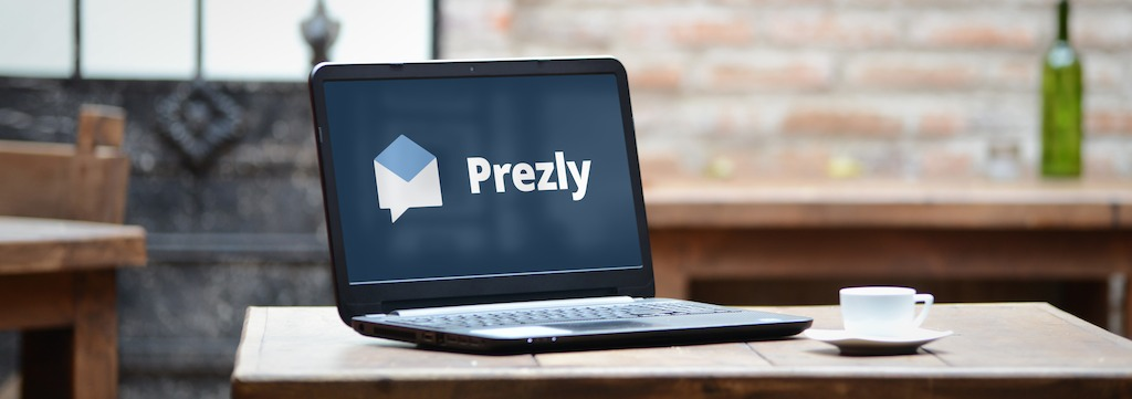 Prezly logo on a laptop