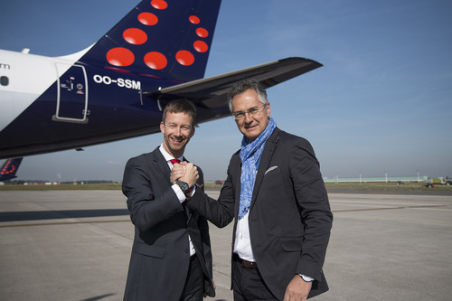 Brussels Airlines CCO Lars Redeligx en Ice-Watch Managing Director Thierry De Poerck