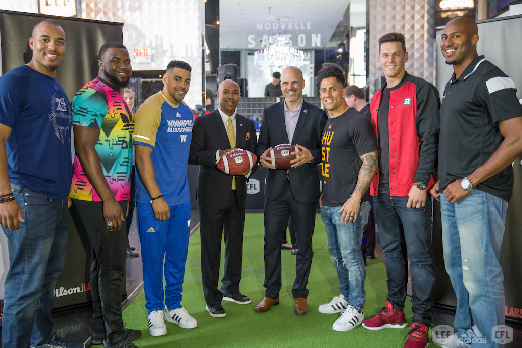 L-R:  Boris Bede, Shawn Lemon, Andrew Harris, Jeffrey L. Orridge, Mark Weightman, Chad Owens, Greg Ellingson and Tori Gurley pose during the media viewing event. (Photo: Amanda Amato)