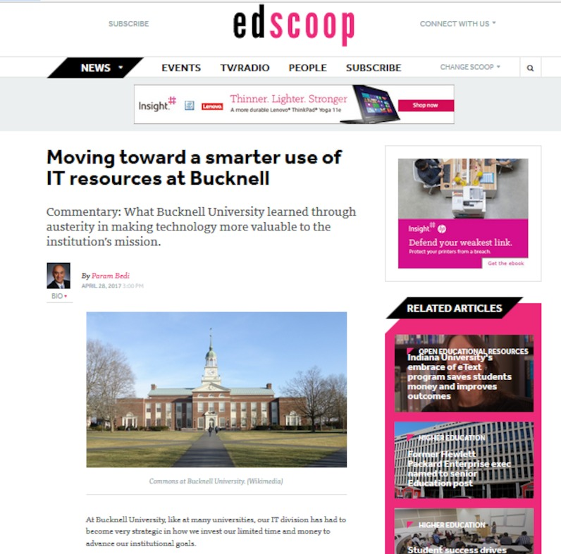 Read panelist Param Bedi's article in EdScoop about how to move towards a smarter use of IT resources. http://bit.ly/bucknellIT