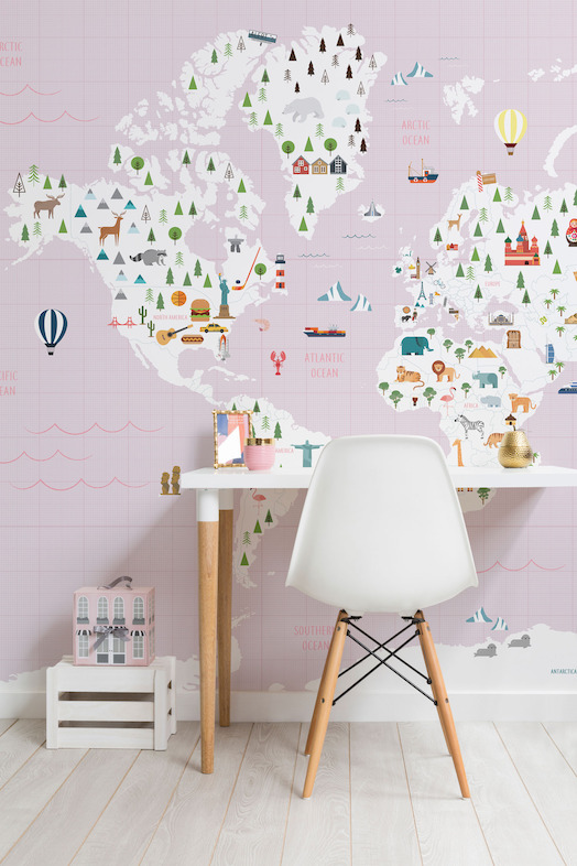 Graph Paper Pink Map Wall Mural