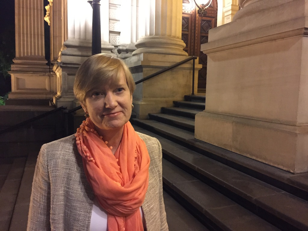Fiona Richardson on the steps of Parliament House, Melbourne