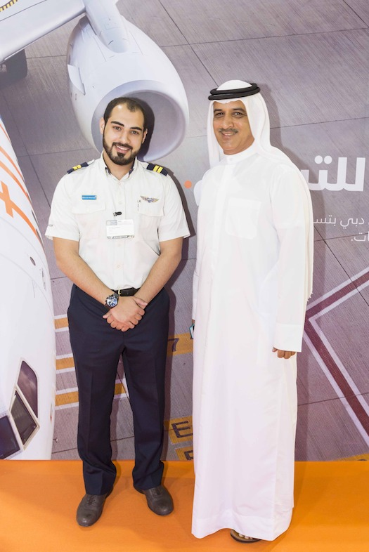 Ghaith Al Ghaith, CEO of flydubai with Emirati pilot