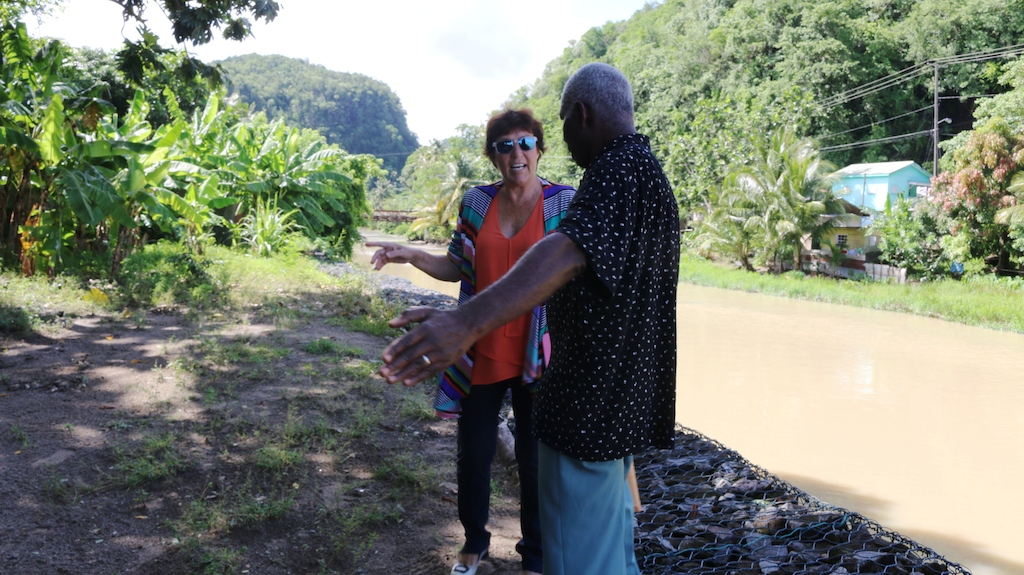 Chairman of the Anse La Raye Council, Mr. Stephen Griffith, on site visit with New Zealand High Commissioner, H.E. Jan Henderson.