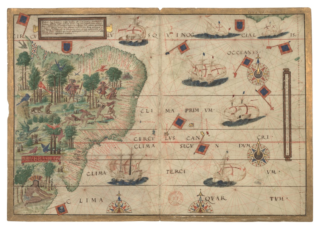© Karte von Brasilien In: Atlas de Dauphin, Dieppe, um 1538. Den Haag, Königliche Bibliothek, National Library of the Netherlands.
