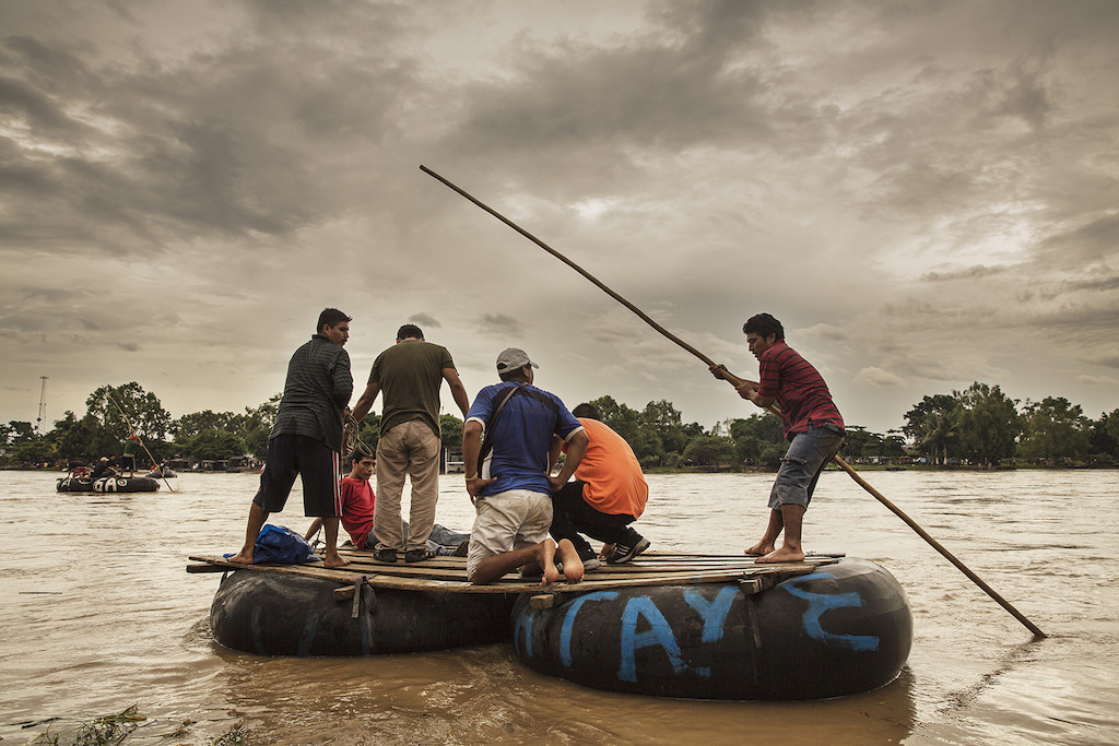 The Suchiate river, on the border between Mexico and Guatemala. The Central American migrants cross it on small boats. It's the beginning of their tough journey through Mexico. Photographer: Anna Surinyach