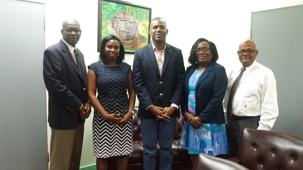 (L-R) Permanent Secretary in the Ministry of Education, Mr. William Hodge; OECS Tourism Specialist, Dr. Lorraine Nicholas; Minister of Education, Hon. Shawn Richards; NETHTE Consultant, Dr. Jennifer Edwards; and CFBC Official (Director of Programme Development), Dr. Leighton Naraine.