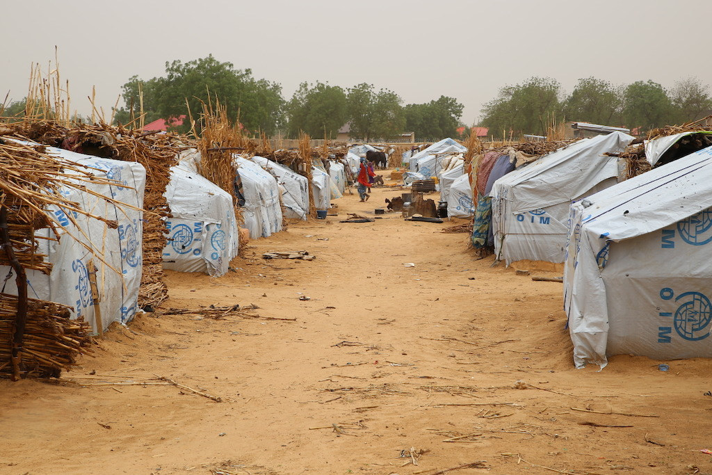 Camp for internally displaced people in the town of Banisheikh, in the northeastern Nigerian state of Borno. Photographer: Igor Barbero