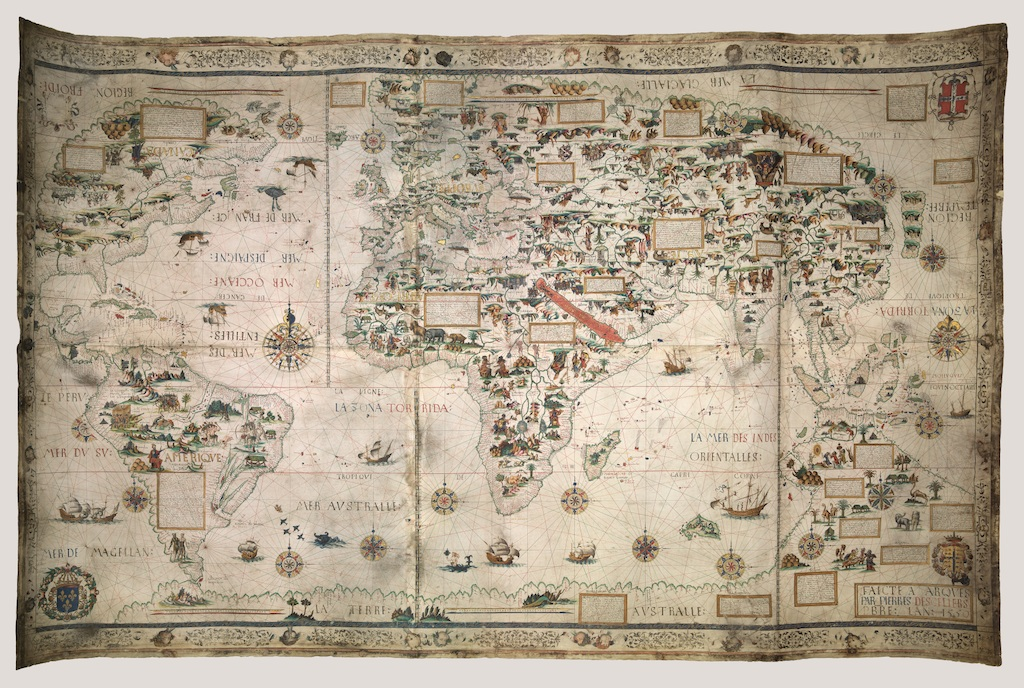 © Pierre Desceliers, Weltkarte (Mappa Mundi), Dieppe, 1550. London, British Library.