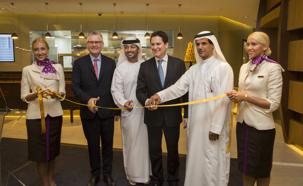 links: Shane O'Hare, Etihad Airways Senior Vice President Marketing; Mohammed Al Katheeri, Acting Chief Operations Officer of Abu Dhabi Airports; Peter Baumgartner, Etihad Airways Chief Executive Officer; and Khaled Almehairbi, Etihad Airways Senior Vice President Abu Dhabi Airport Operations