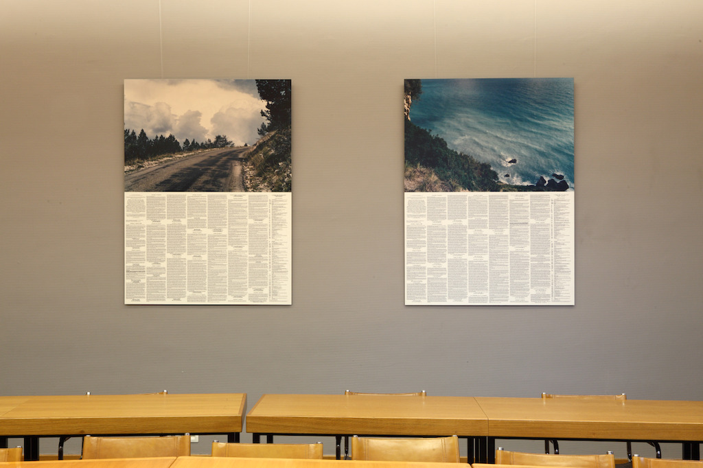 Installation view of the exhibition &#039;Entre nous quelque chose se passe...&#039; in the Library of the Faculty of Law, KU Leuven.<br/>Artist and work: Christoph Fink, Beweging#35, Gent - Etna (zomer 1997)<br/>Photo © Dirk Pauwels