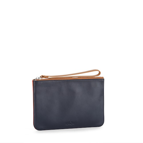 Small Jamie Pouch Bi-colour Blue and Cognac