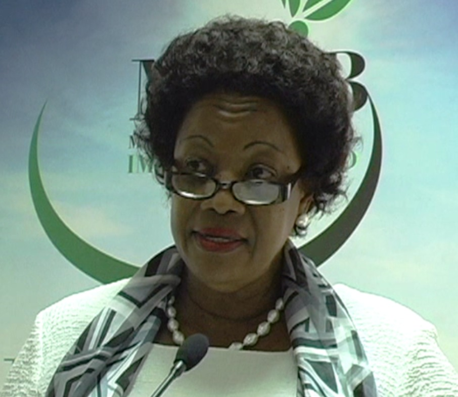 Hon. Yolande Bain Horsford, Minister for Agriculture, delivers remarks.