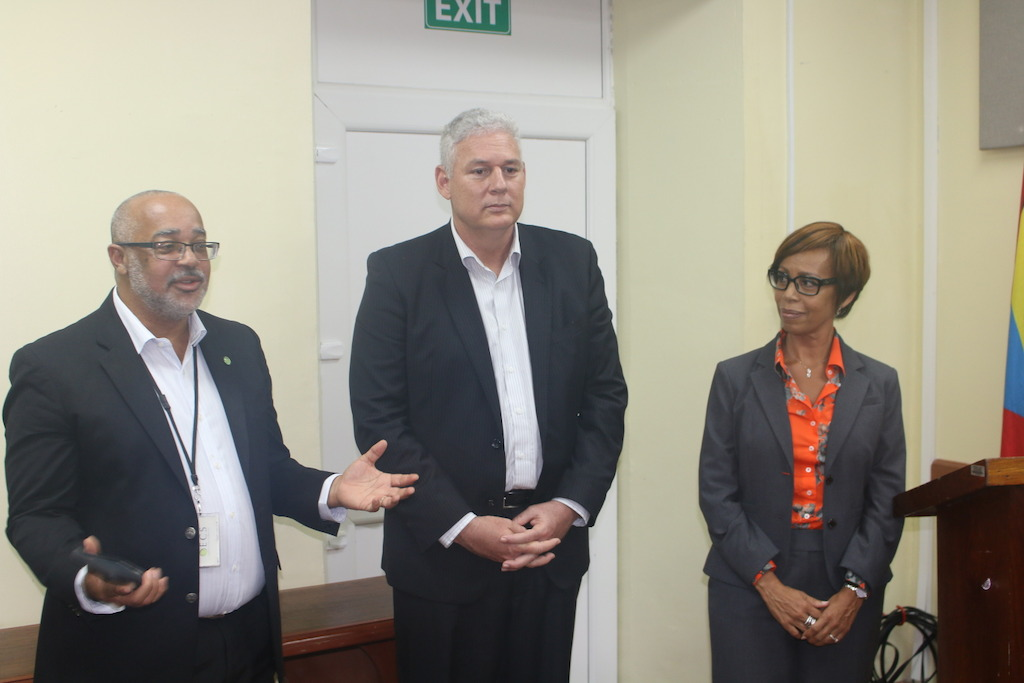 (L to R) OECS Director General Dr. Didacus Jules, Hon. Allen M. Chastanet, Prime Minister of Saint Lucia and Gale Jean Baptise, Head of Human Resources address staff at the OECS Commission