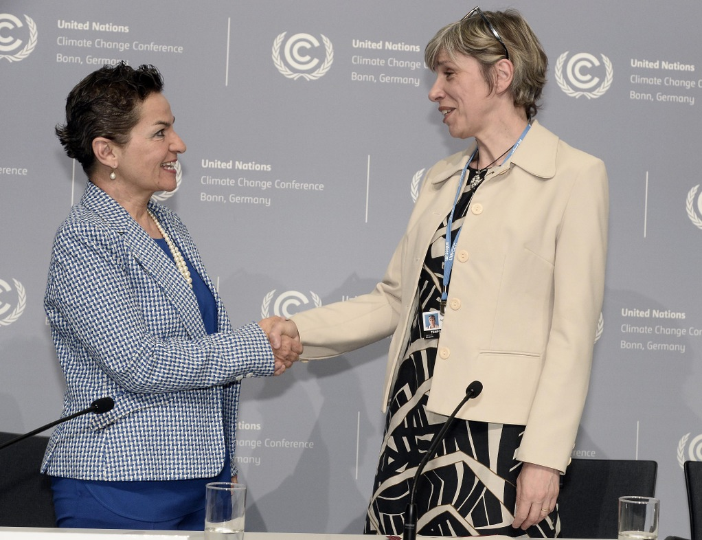 Agnès Ogier, CEO van Thalys, en Christiana Figueres,  Uitvoerend secretaris van de United Nations Framework Convention on Climate Change (UNFCCC)