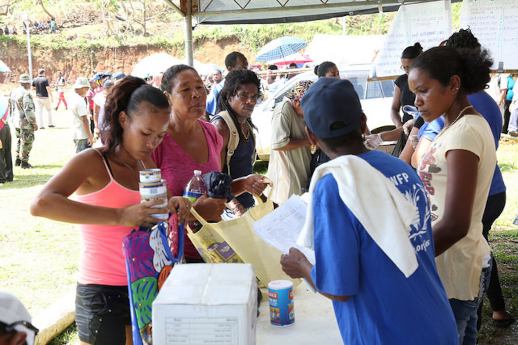 Distribution of relief items in the Kalinago Territory, Dominica.