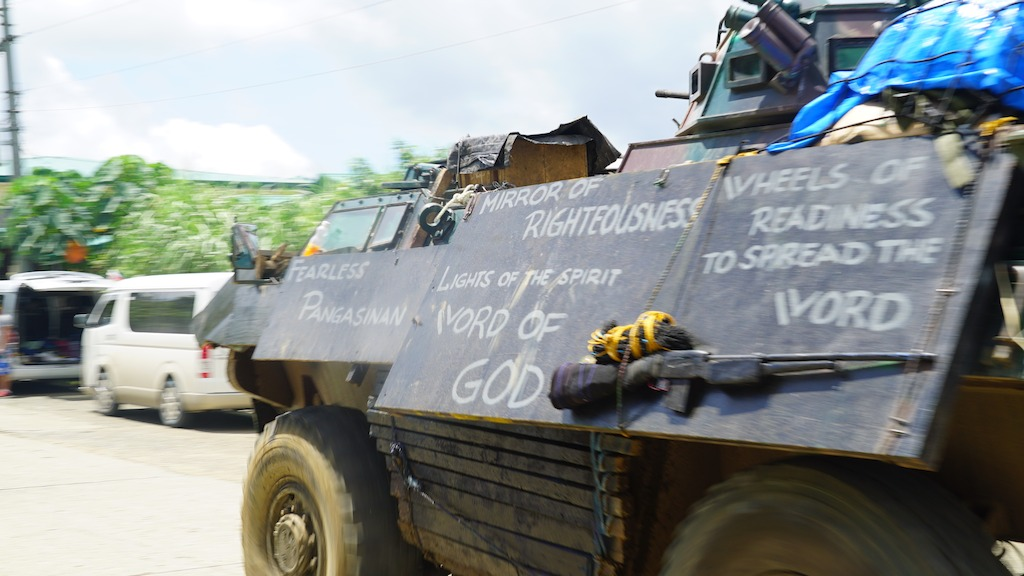 Philippines armoured personnel carrier spreading the word