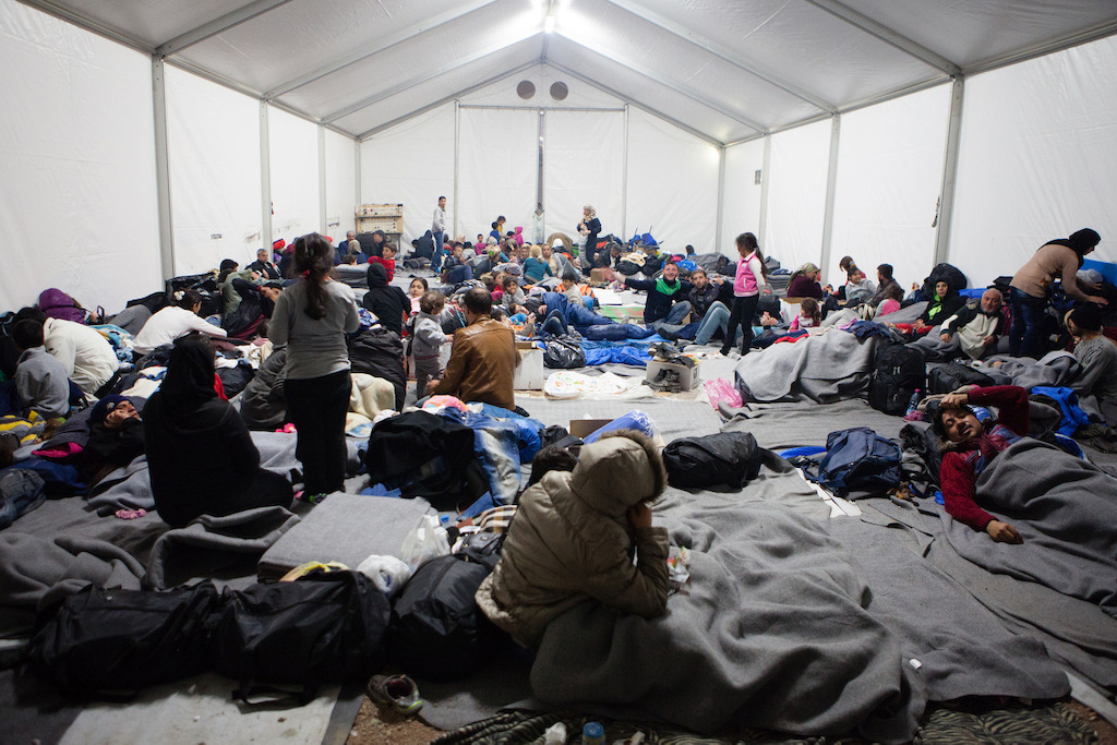 Inside a Medecins Sans Frontiers (MSF) accommodation tent at the transit camp in Idomeni, on the Greek - Macedonian (FYROM) border. Photographer: Alex Yallop