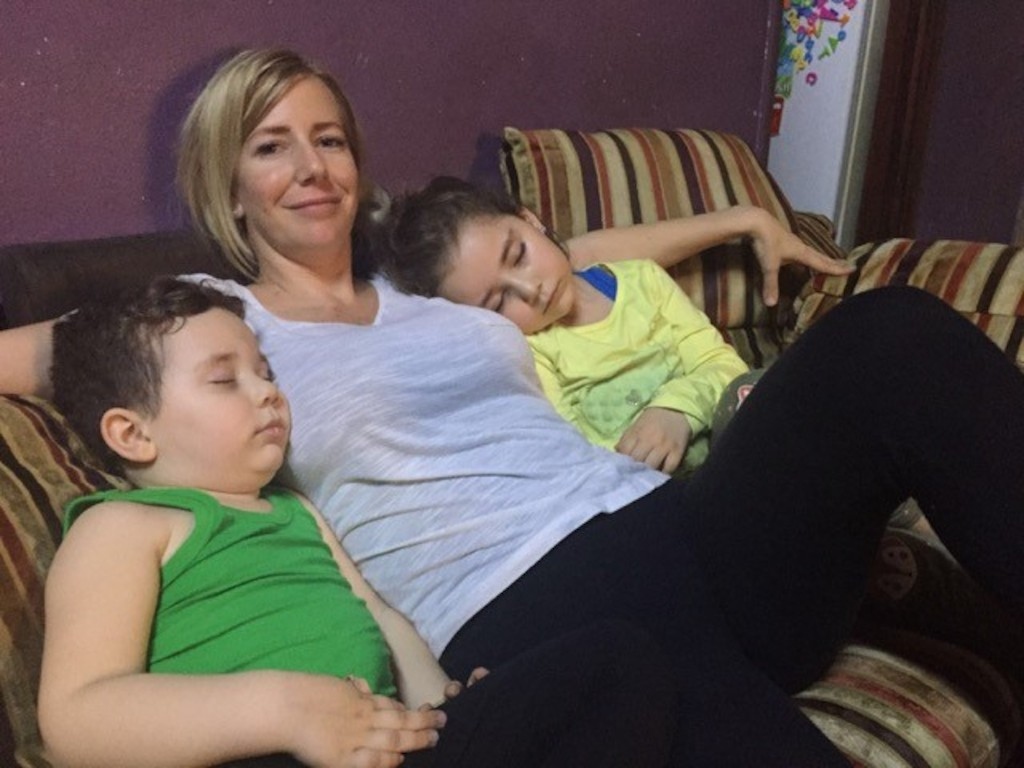 Sally Faulkner with son Noah and daughter Lahela at the safe house in Lebanon
