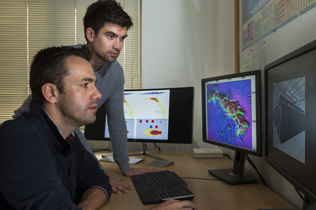 Dr Rhodri Davies and PhD student Tim Jones from the ANU Research School of Earth Sciences. Image: Stuart Hay, ANU.
