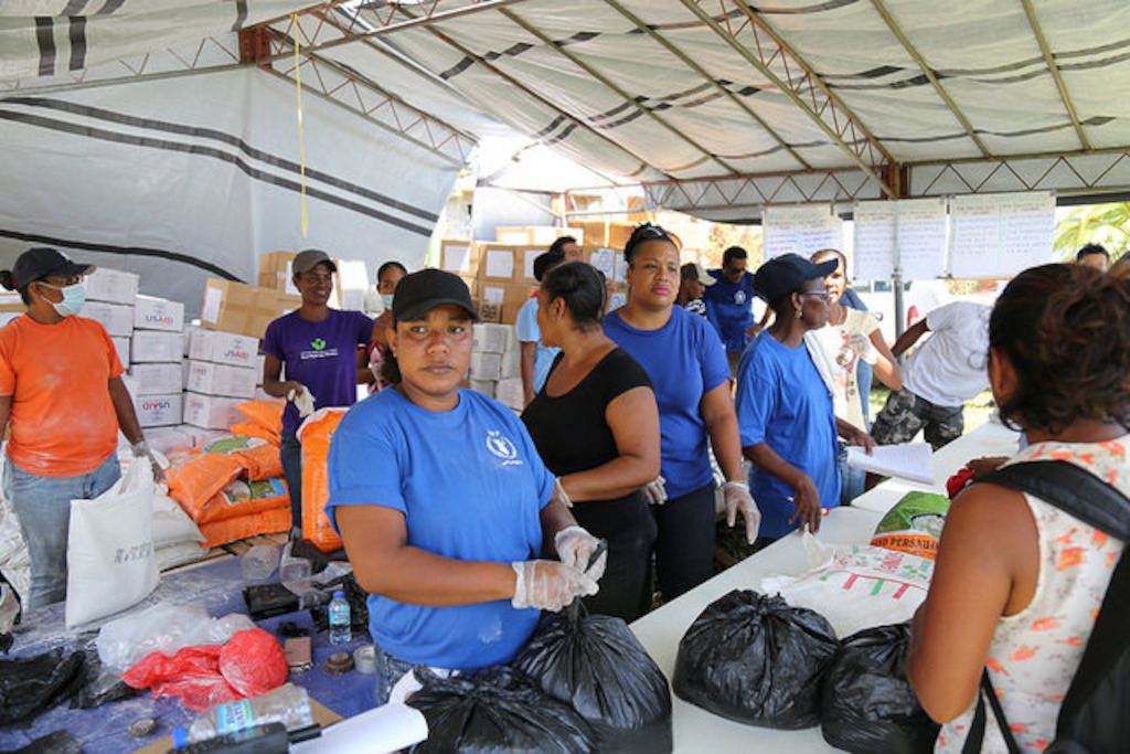 Preparation of relief packages in the Kalinago Territory, Dominica.