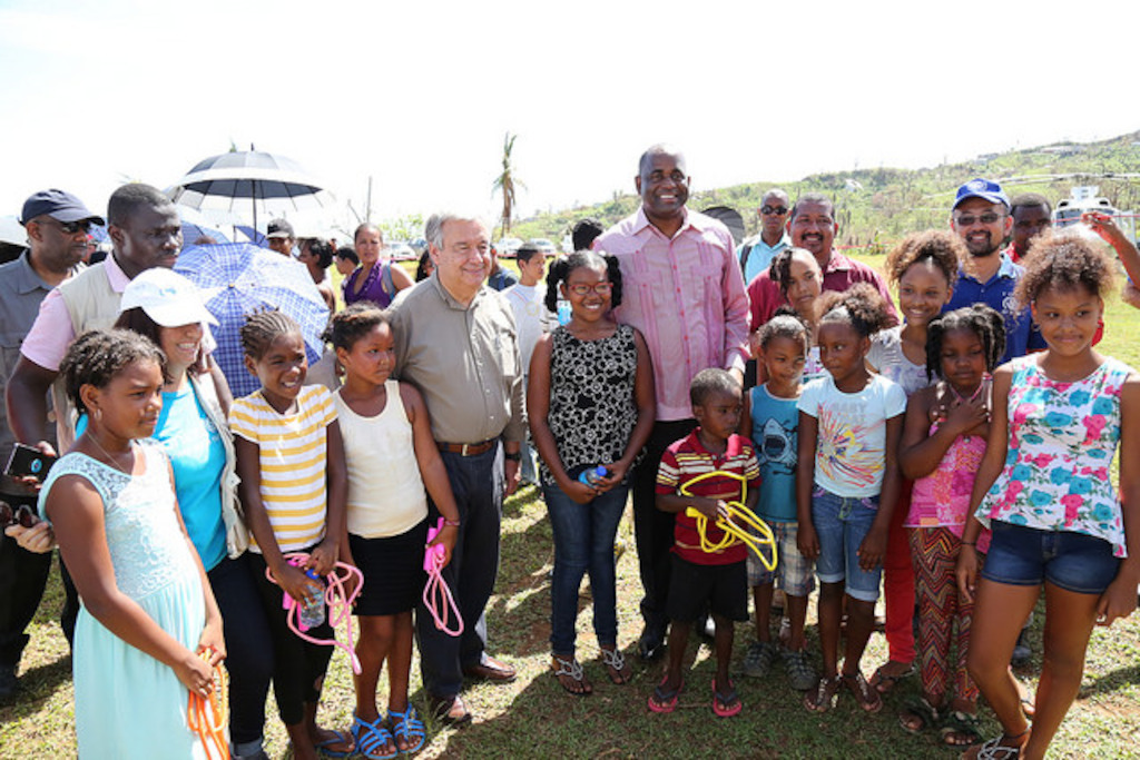 UN Secretary-General and Prime Minister of Dominica meet with children at the Kalinago Territory, Dominica.