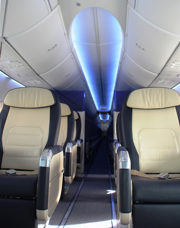 Business Class cabin showing Boeing Sky Interior