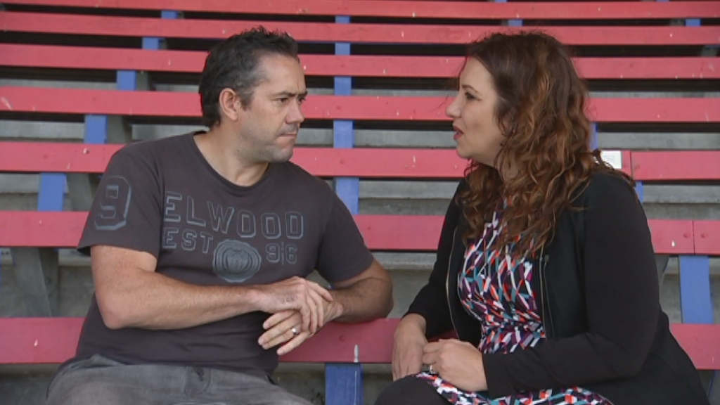 Simon Lethlean, AFL's general manager of game and market development, with Libbi Gorr