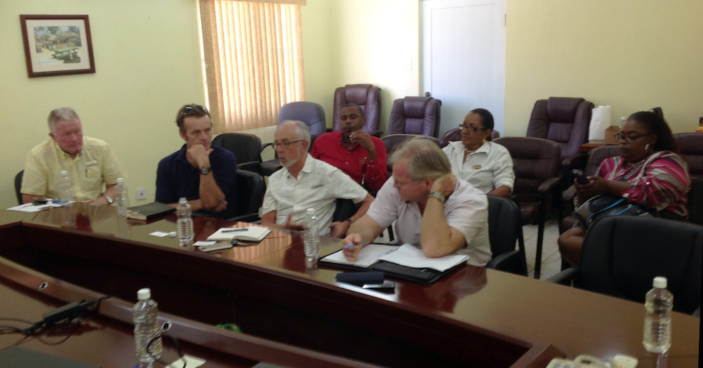 Meeting with hoteliers in Nevis.