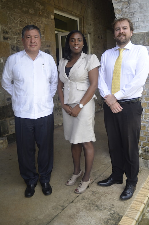 Ambassador of Mexico to the OECS, His Excellency Luis M. Lopez Moreno, OECS Tourism Specialist Dr. Lorraine Nicholas and Third Secretary of the Embassy of Mexico Mr. Imanol Belausteguigoitia