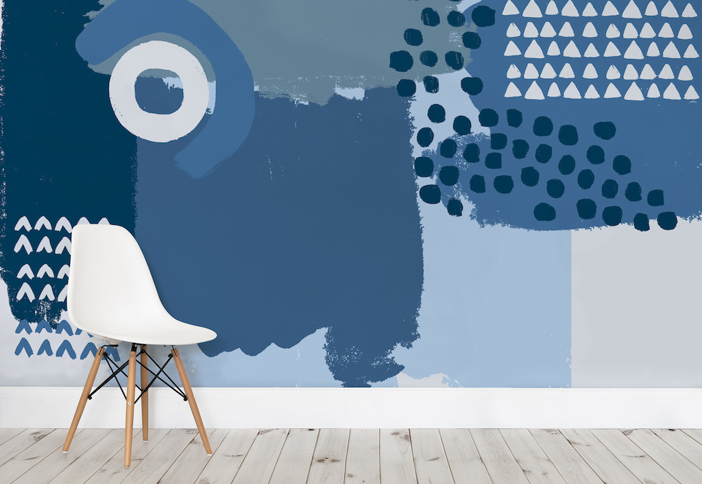 Blue Abstract Painting Wall Mural