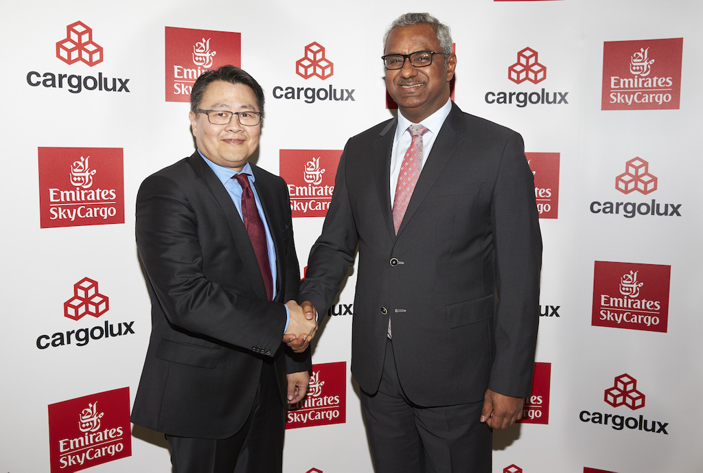 Richard Forson, Cargolux President & CEO and Nabil Sultan, Emirates Divisional Senior Vice President, Cargo at the Air Cargo Europe event in Munich, Germany. Emirates SkyCargo and Cargolux announce a strategic operational partnership in air cargo transportation.