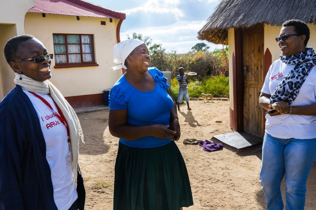 58 year old Magaret is visited at home by a Medecins Sans Frontieres (MSF) staff members. <br/><br/>Margret lives in a very remote village around Chimombe Hospital. During her last VIAC test, in February 2016, nurses discovered less than 75% lesions on her cervix. Right away, they performed cryotherapy to froze these lesions. She has to check again in July to see if the lesions have disappeared. Photographer: Melanie Wenger/COSMOS