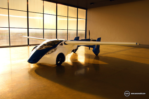 AeroMobil 3.0 airplane configuration in hangar sunset