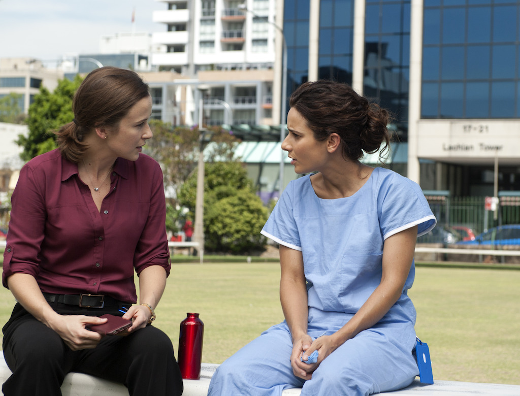 Claire van der Boom as Frankie Bell and Andrea Demetriades as Lou Tanner