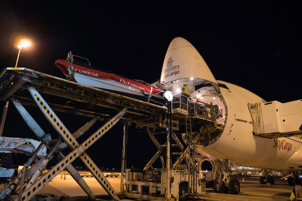 Emirates Team New Zealand's boat being loaded on the Emirates SkyCargo freighter