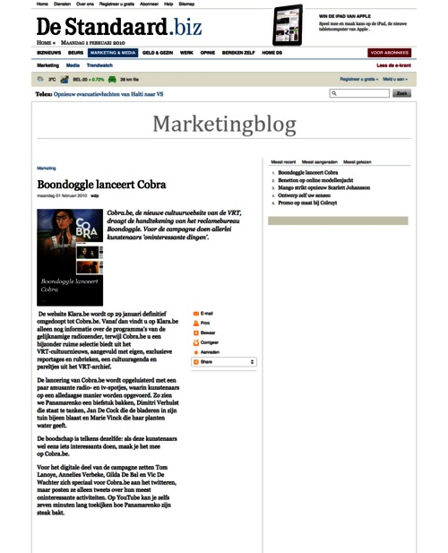 Belgian newspaper De Standaard repurposed the contents of a press release